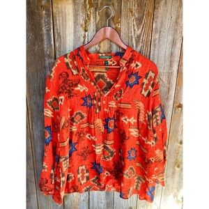 RALPH LAUREN silk& linen aztec orange blouse